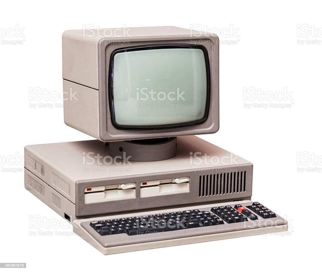 Old gray computer stock photo