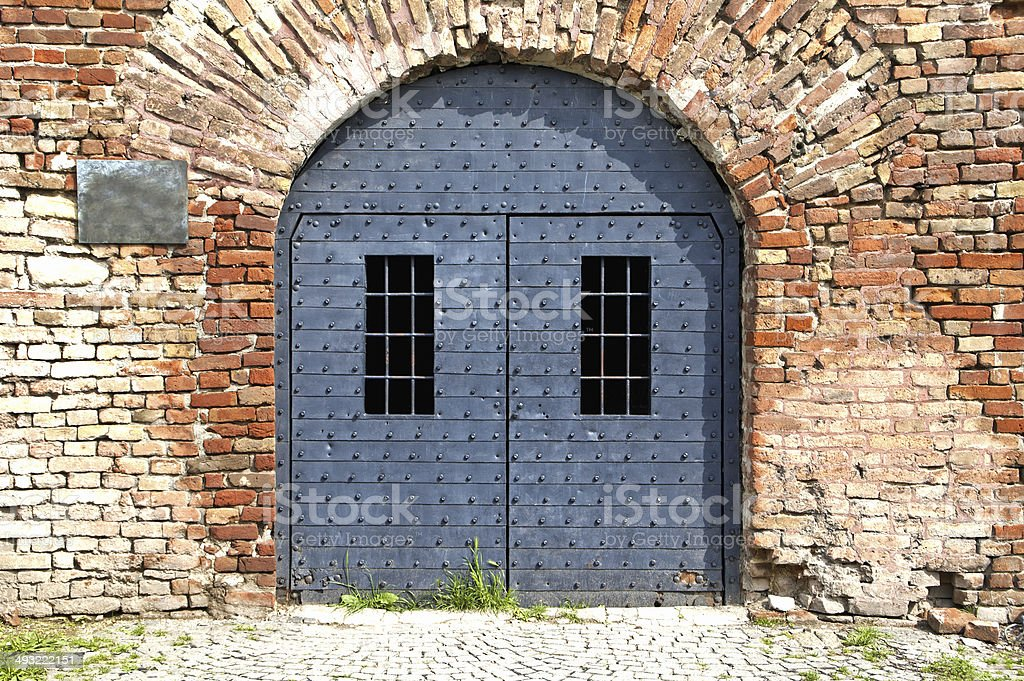 Old gray door royalty-free stock photo