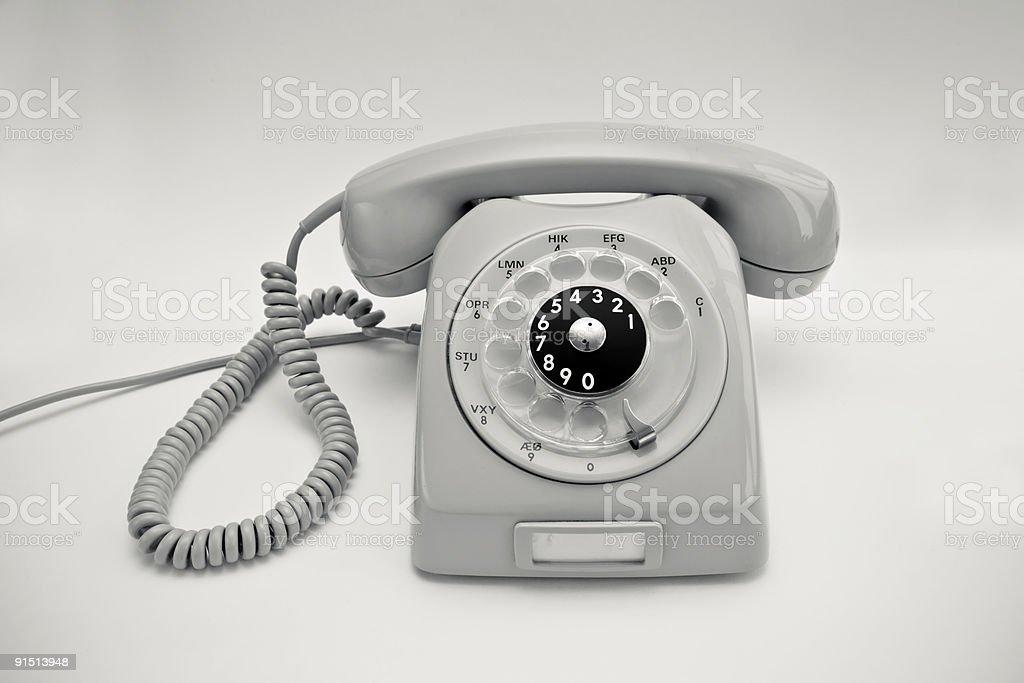 Old Gray Rotary Phone royalty-free stock photo