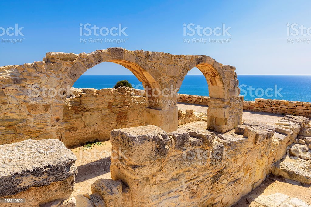 Old greek arches ruin at sunset, Limassol, Cypru stock photo