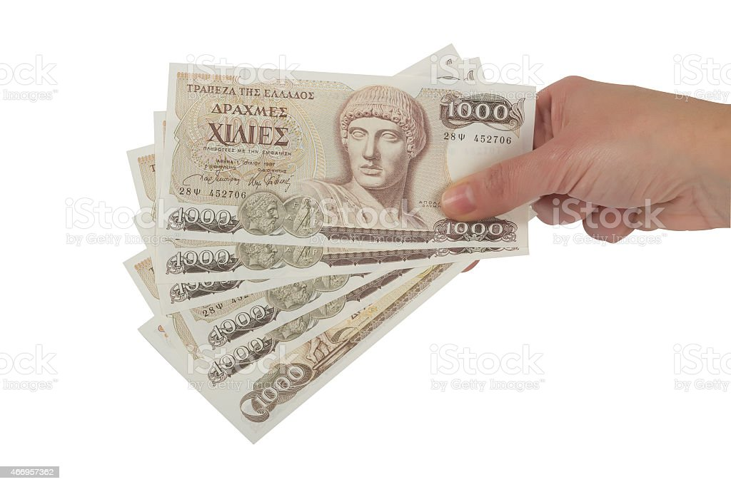 Old Greek currency of 1000 drachmas banknotes stock photo