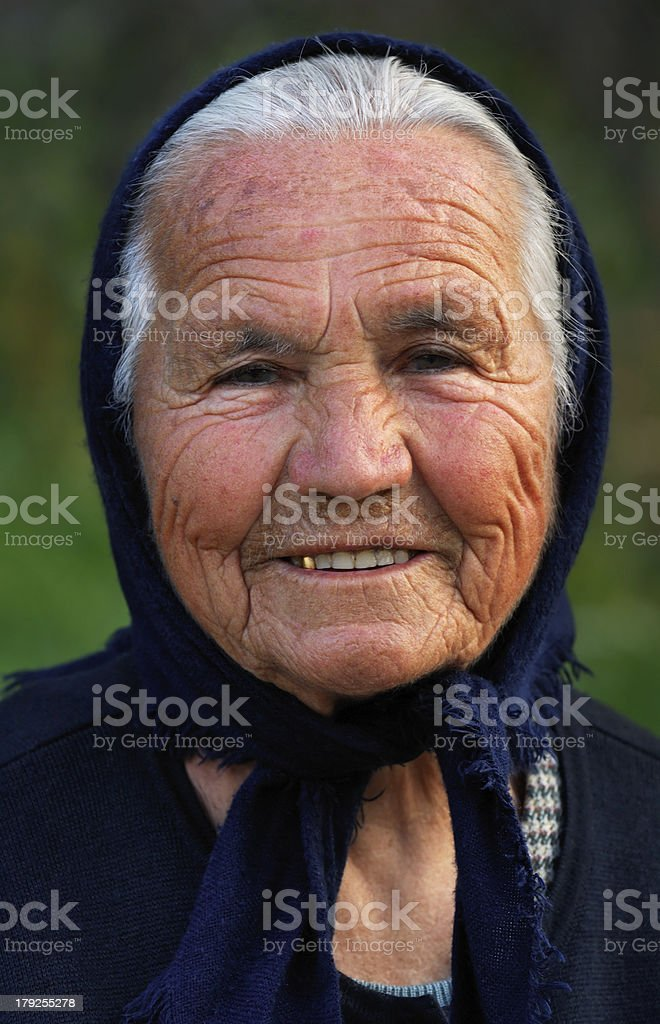 Old Greek lady stock photo