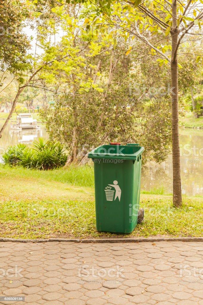 Old green bins stock photo