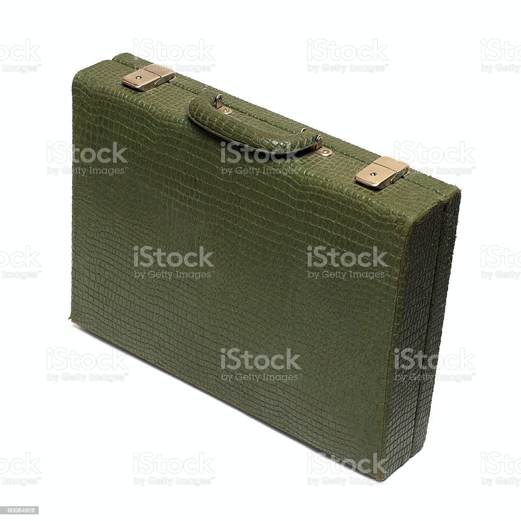 old green briefcase royalty-free stock photo