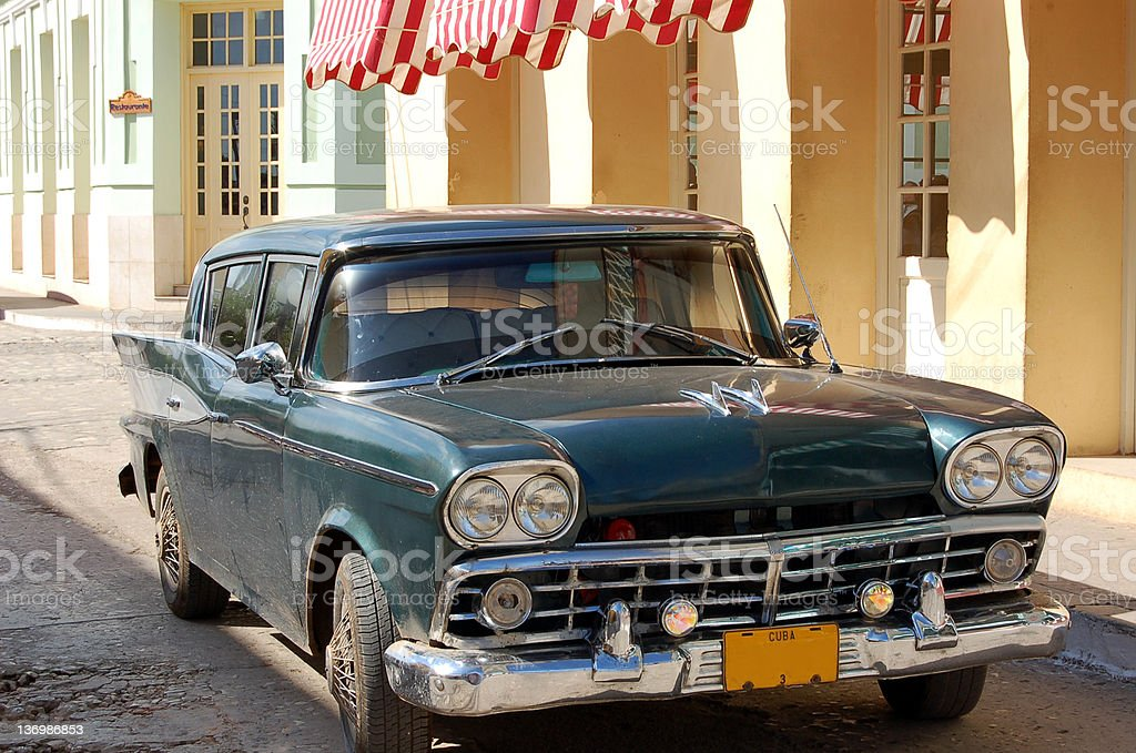 Old green car, Cuba royalty-free stock photo