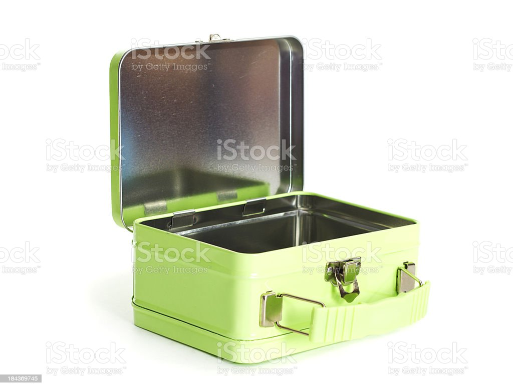 Old green metal lunchbox opened on a white background. stock photo