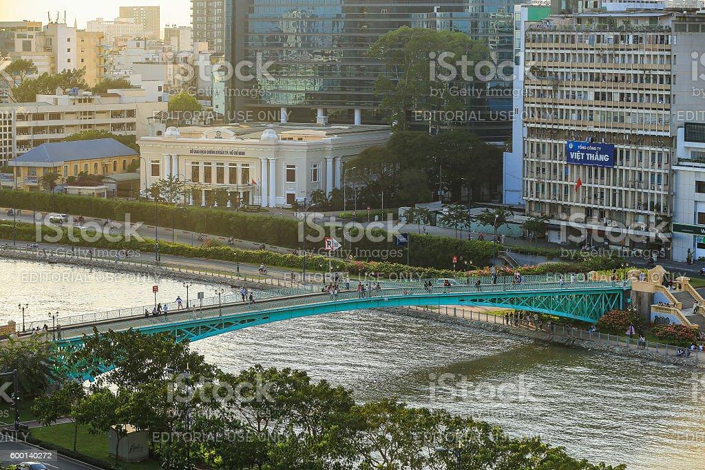 old green Mong bridge at Tau Hu canal stock photo