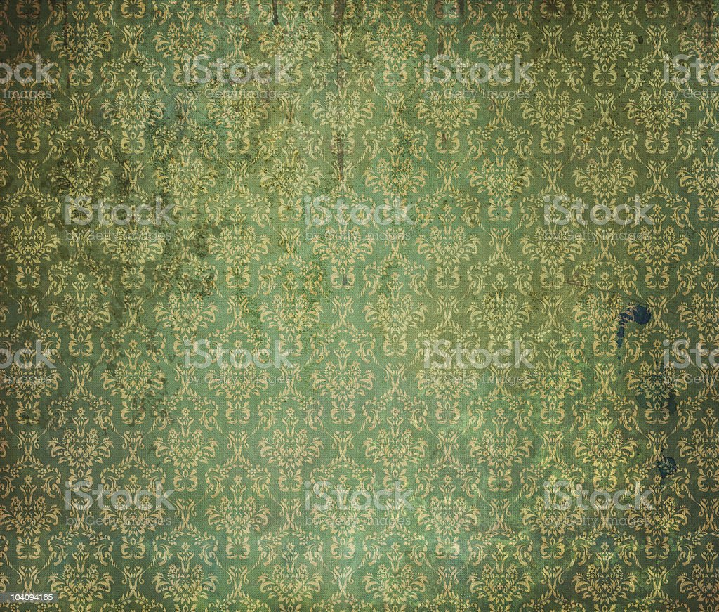 Old green wallpaper royalty-free stock photo