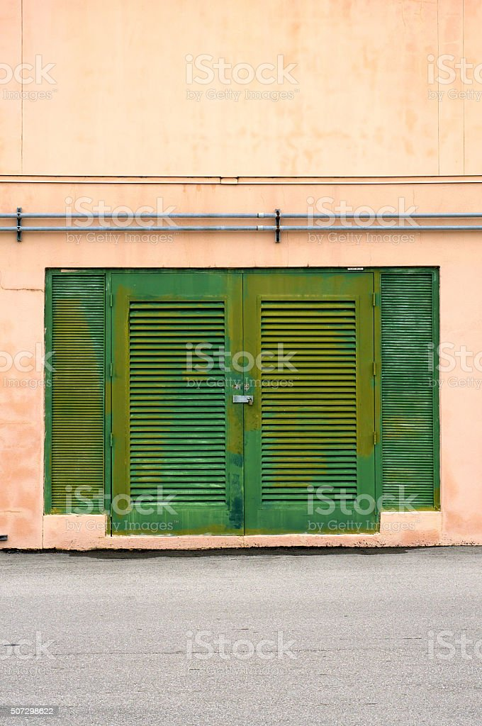 old green weathered doors stock photo