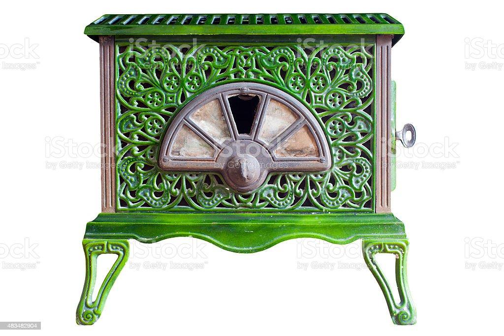 Old Green Wood Burner stock photo