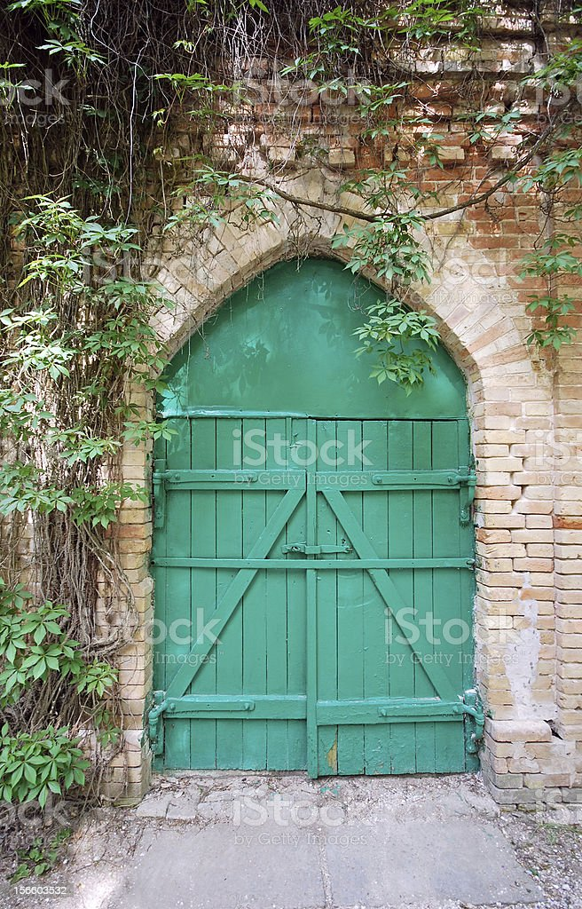 Old green wooden gate royalty-free stock photo