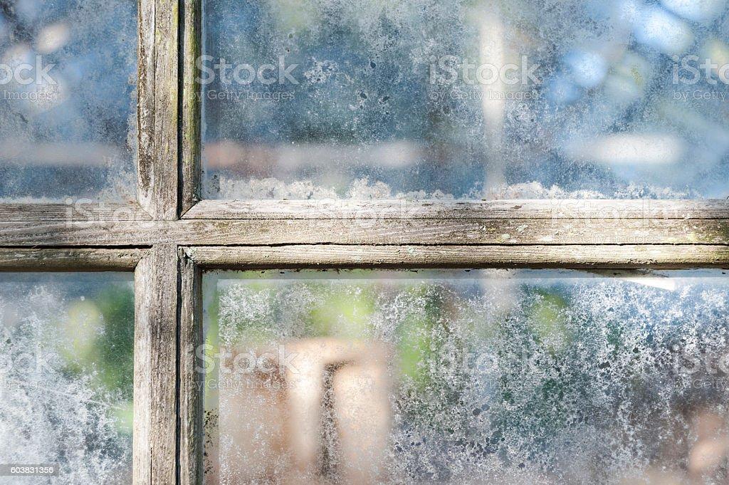 Old greenhouse window panes stock photo