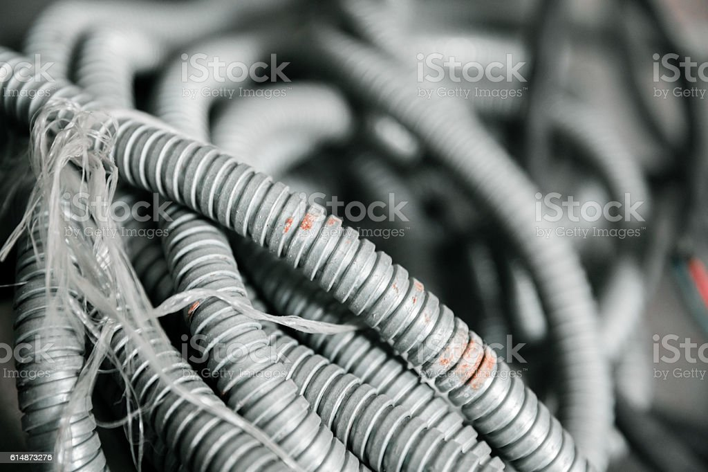 Old grey Flexible hose stock photo