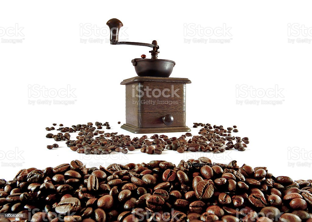 Old Grinder with coffee grains royalty-free stock photo