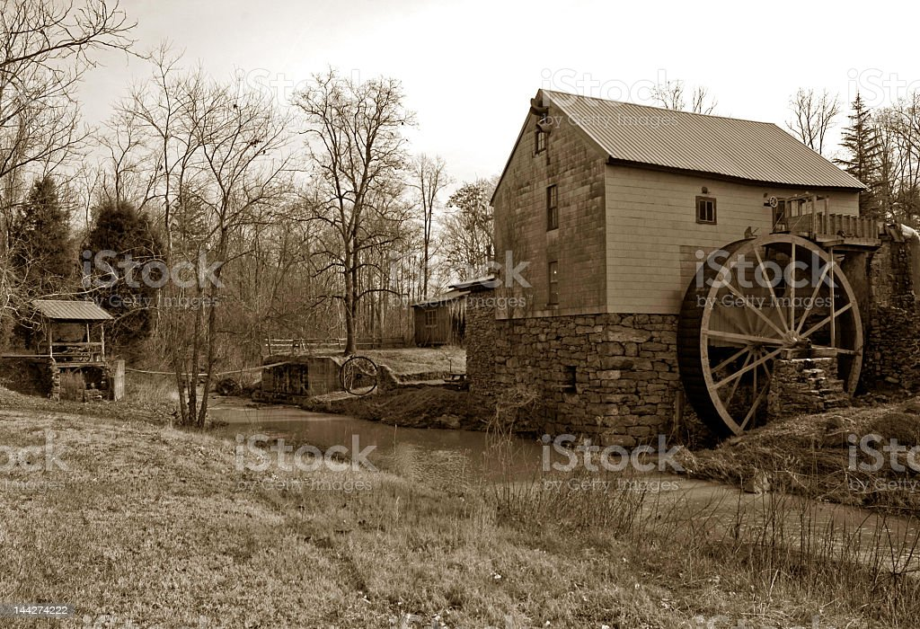 Old Grist Mill in Sepia royalty-free stock photo