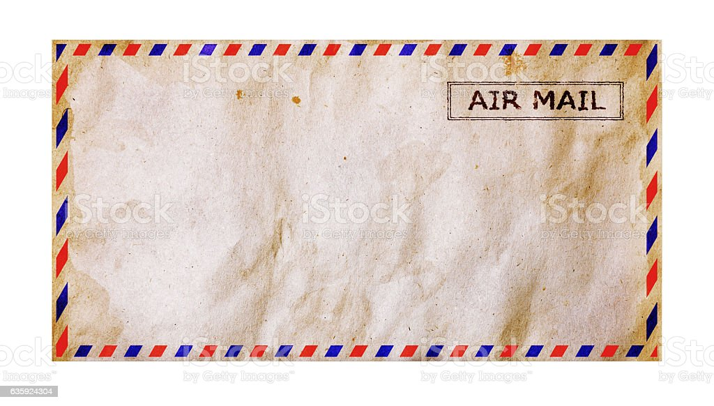 Old grunge airmail envelope stock photo