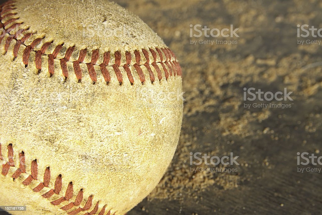 Old Grunge Baseball On Wood and Dirt Background stock photo