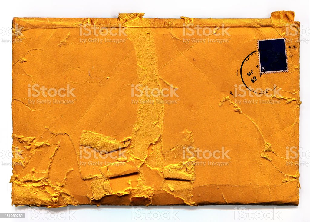 Old Grunge Envelope (with clipping path) stock photo
