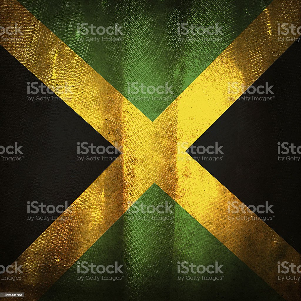 Old grunge flag of Jamaica stock photo
