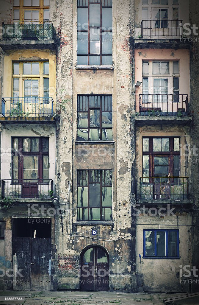 old grunge house in lodz centre town stock photo