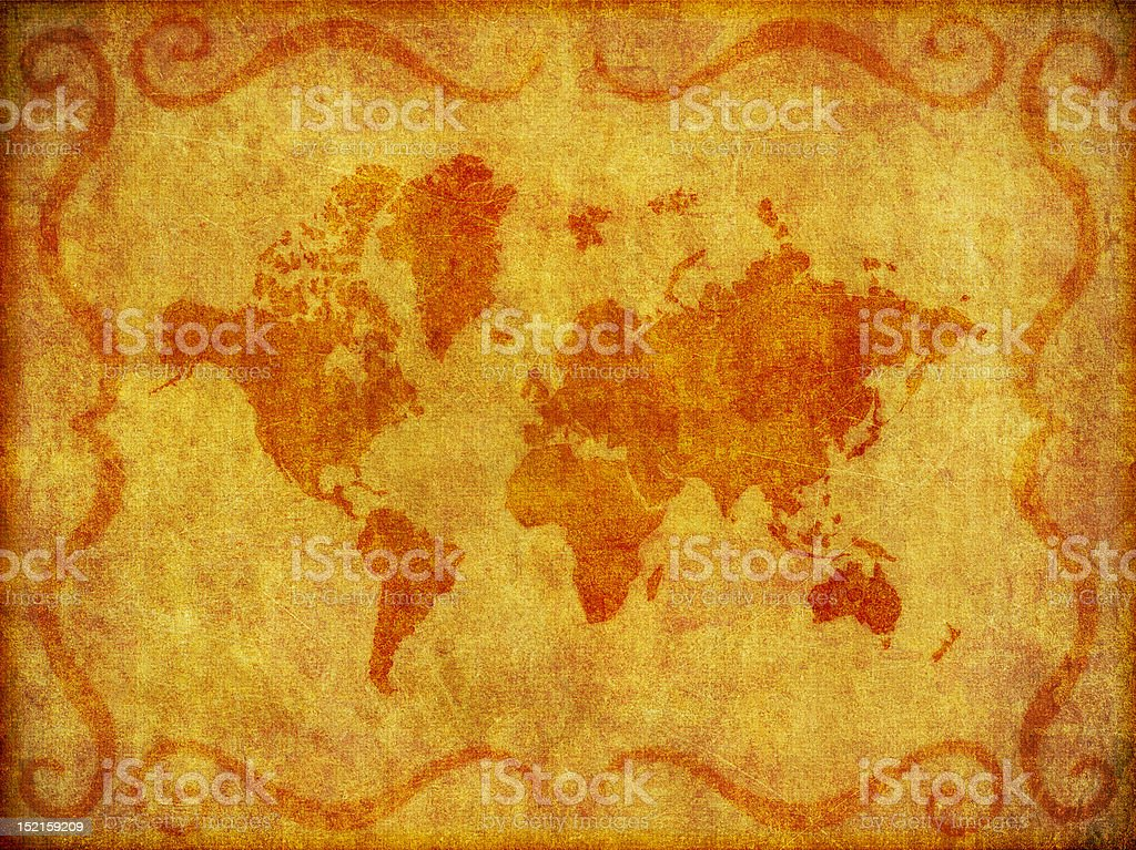 Old, Grunge Map of the World Illustration royalty-free stock vector art