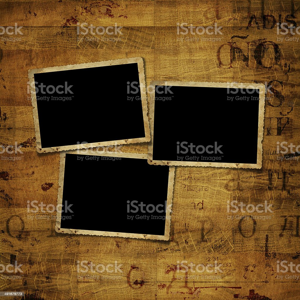 Old grunge paper frames on the ancient background stock photo