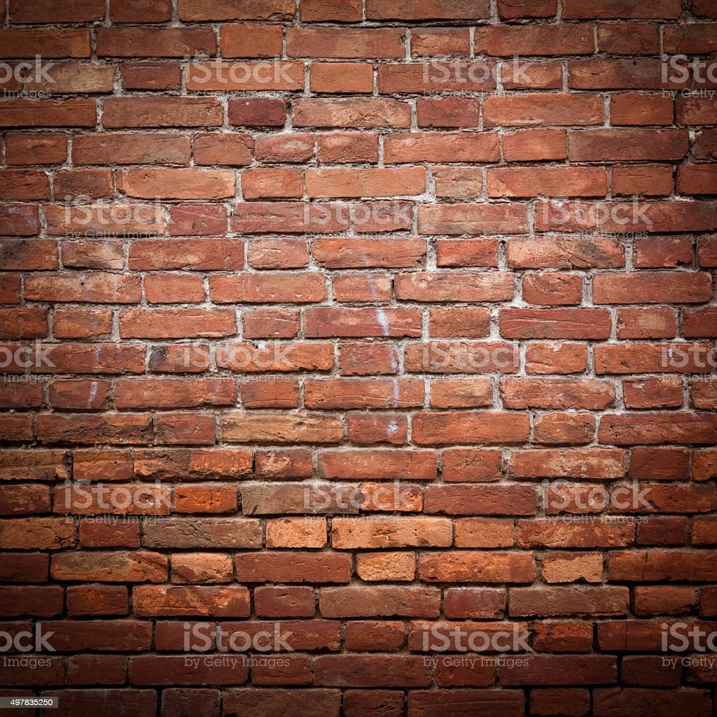 Old grunge red brick wall stock photo
