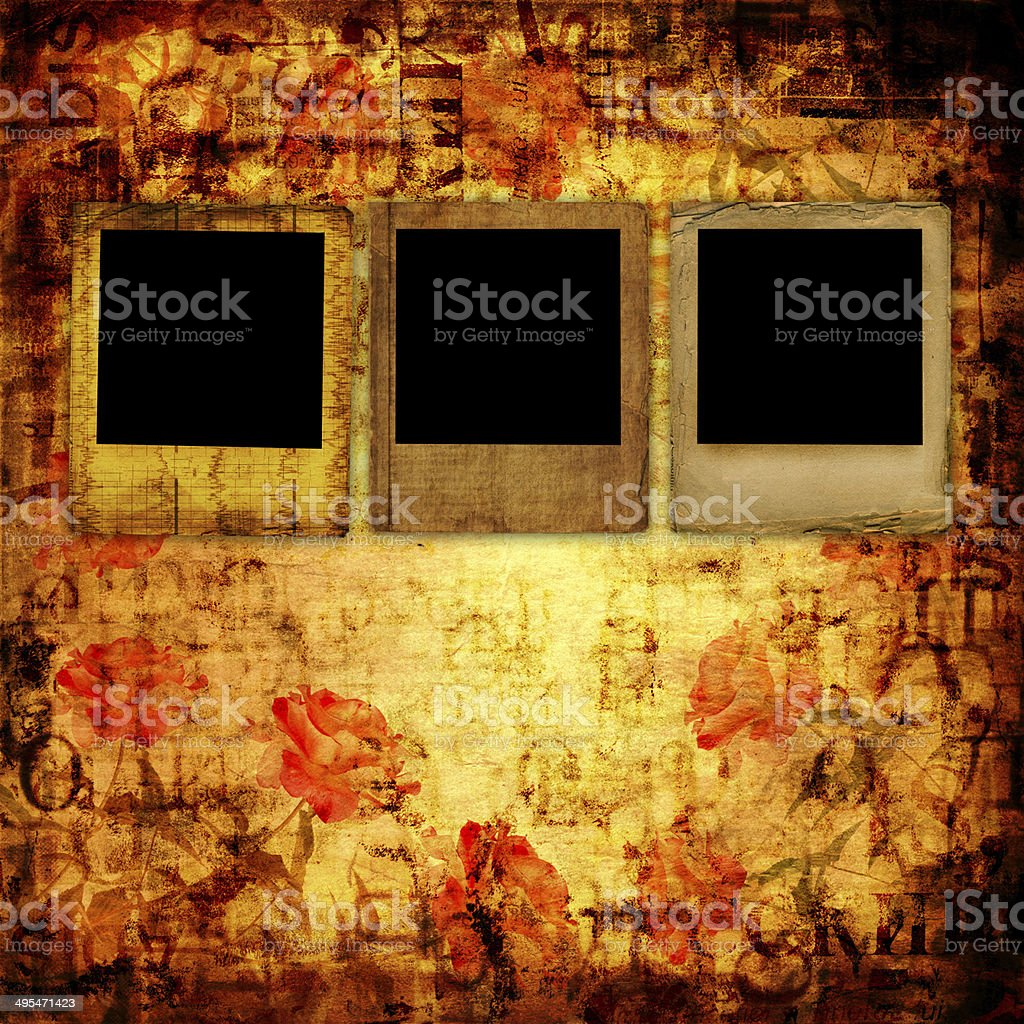 Old grunge torn frame on the ancient background with roses stock photo