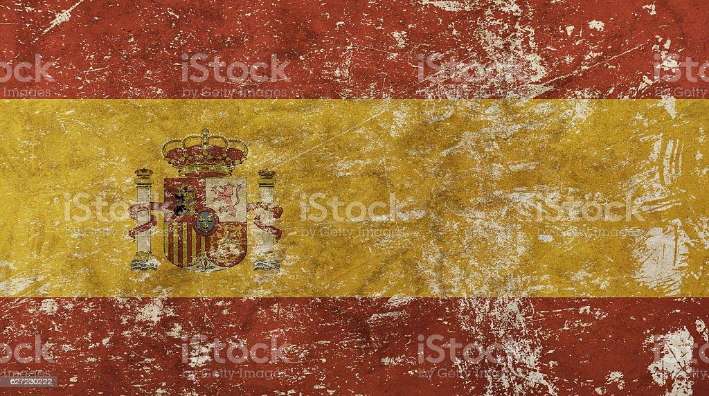 Old grunge vintage faded Kingdom of Spain flag stock photo