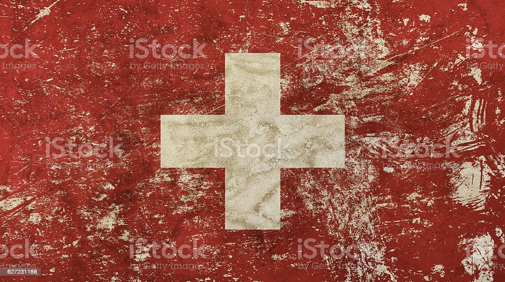 Old grunge vintage faded Swiss Confederation flag stock photo