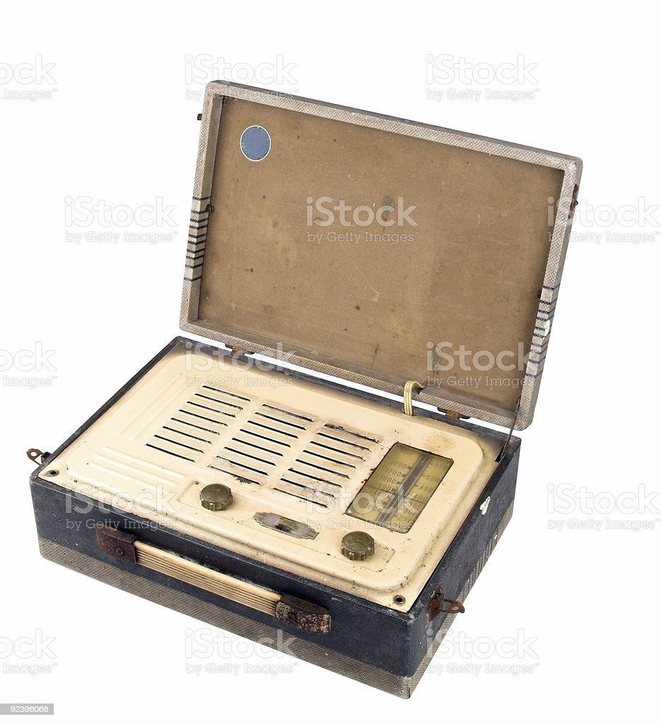 Old Grungy Valve Radio Case Open stock photo