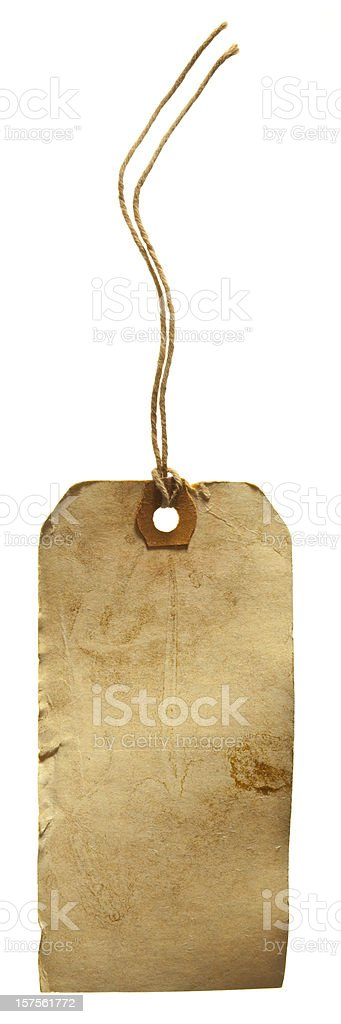 Old Grungy Weathered Cardboard Tag With Cotton String Attached