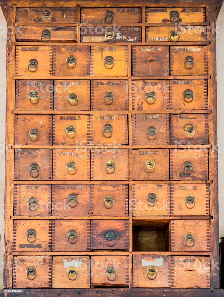 Old, Grungy, Wooden 1800s Medicine Supply Cabinet stock photo
