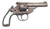 old gun isolated on white
