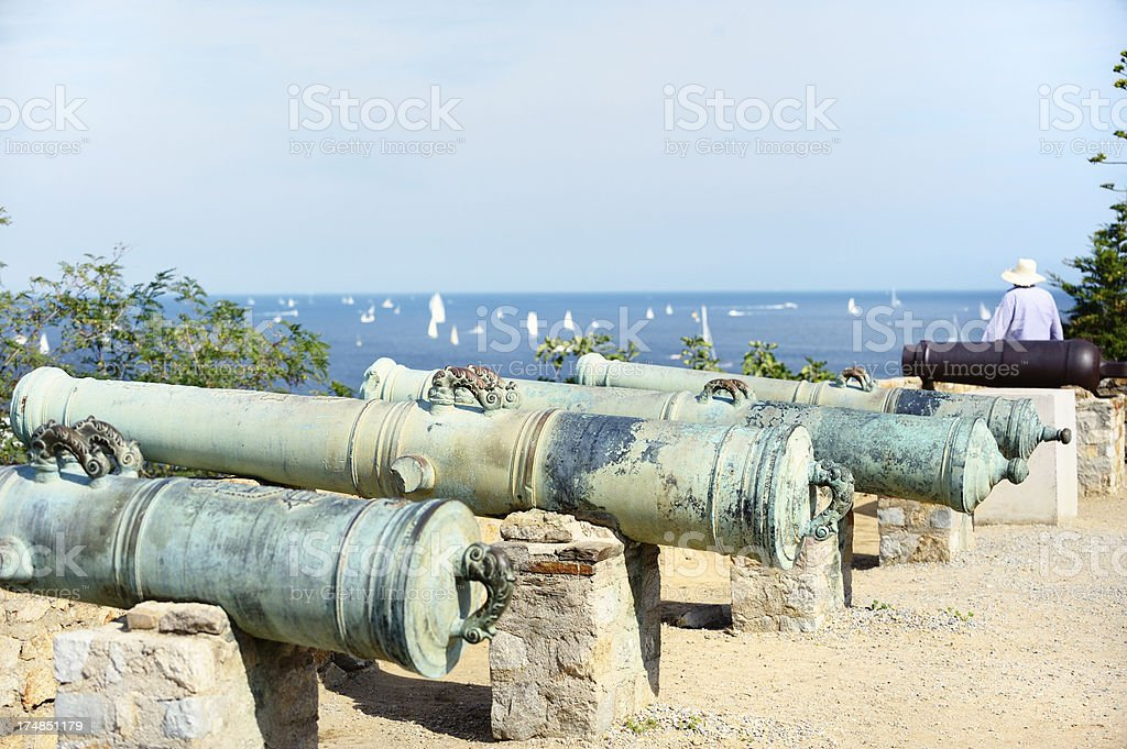 Old Guns on the Citadel of St. Tropez royalty-free stock photo