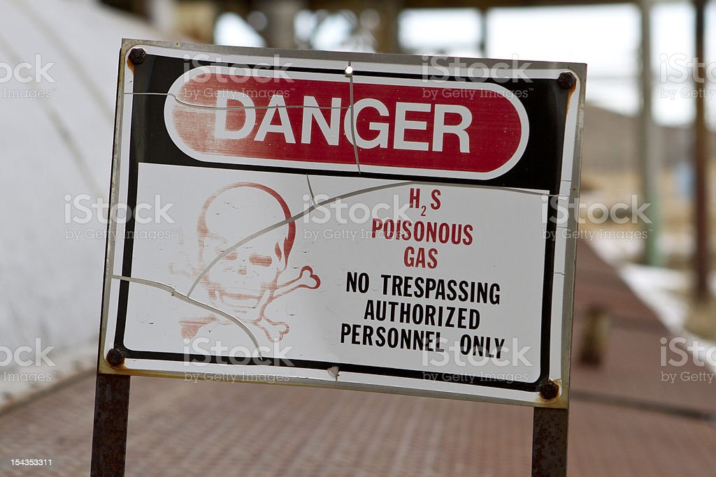 Old H2S Warning Sign stock photo