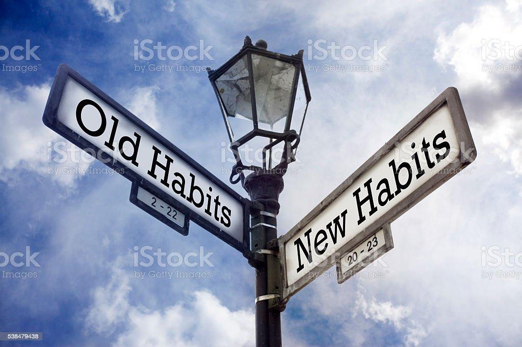 Old Habits vs. New Habits stock photo