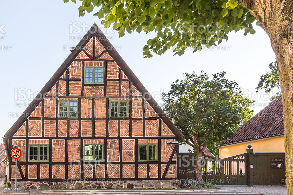 Old half-timbered house in Lund stock photo