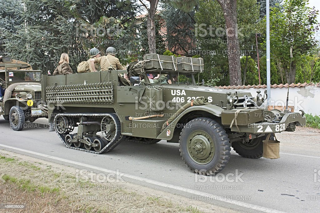 old half-track military vehicle royalty-free stock photo