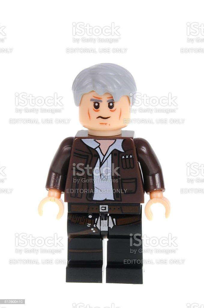 Old Han Solo Force Awakens Lego Minifigure stock photo