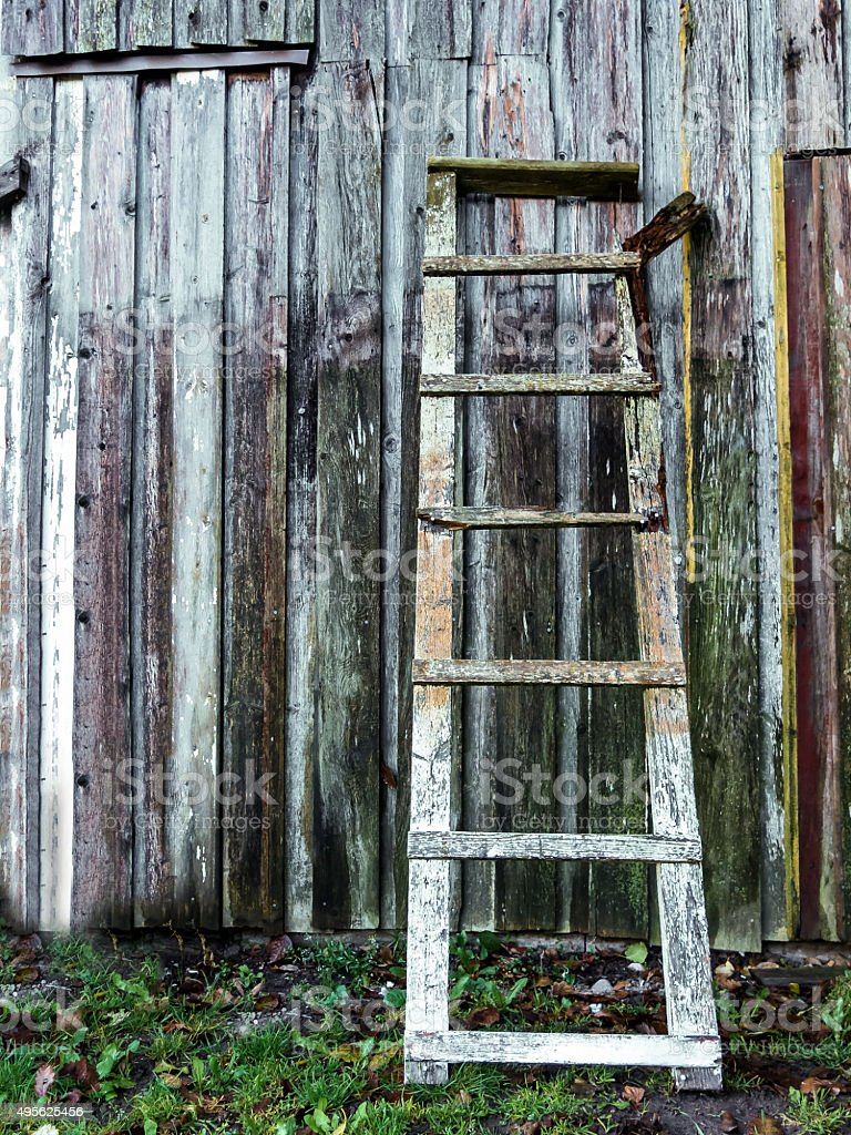 Old hand crafted wooden ladder stock photo