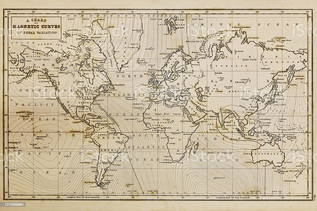 Old hand drawn vintage world map stock photo