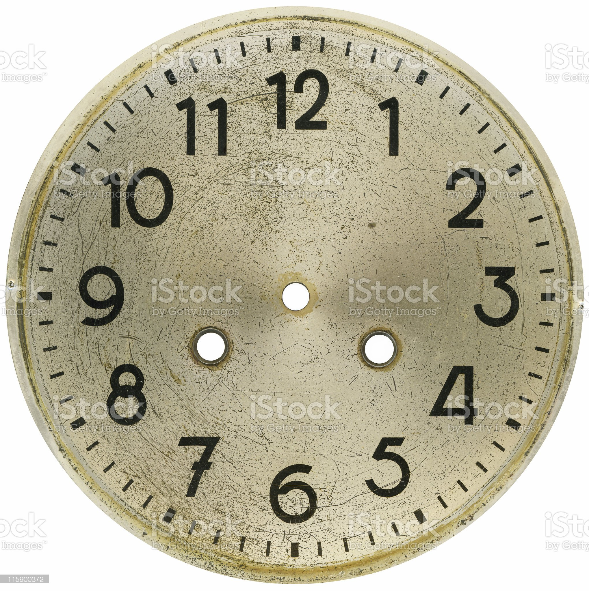 Old hand painted clock face with european style seven royalty-free stock photo