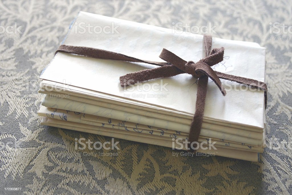 old hand written letter bundle stock photo
