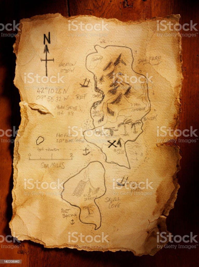 Old Handmade Treasure Map royalty-free stock photo