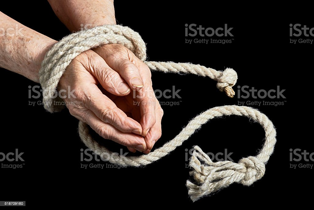 Old hands are tied stock photo
