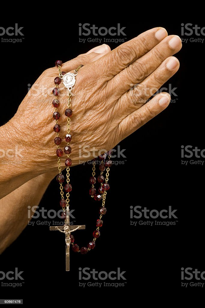 Old hands praying stock photo