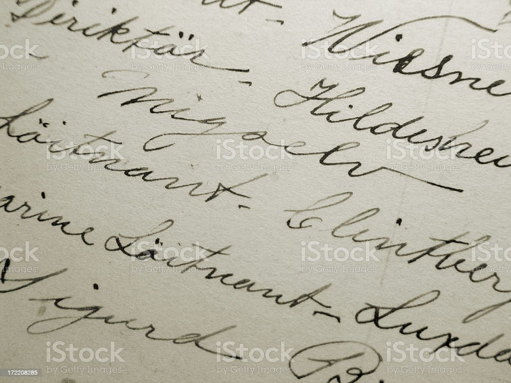 Old handwriting on white paper stock photo