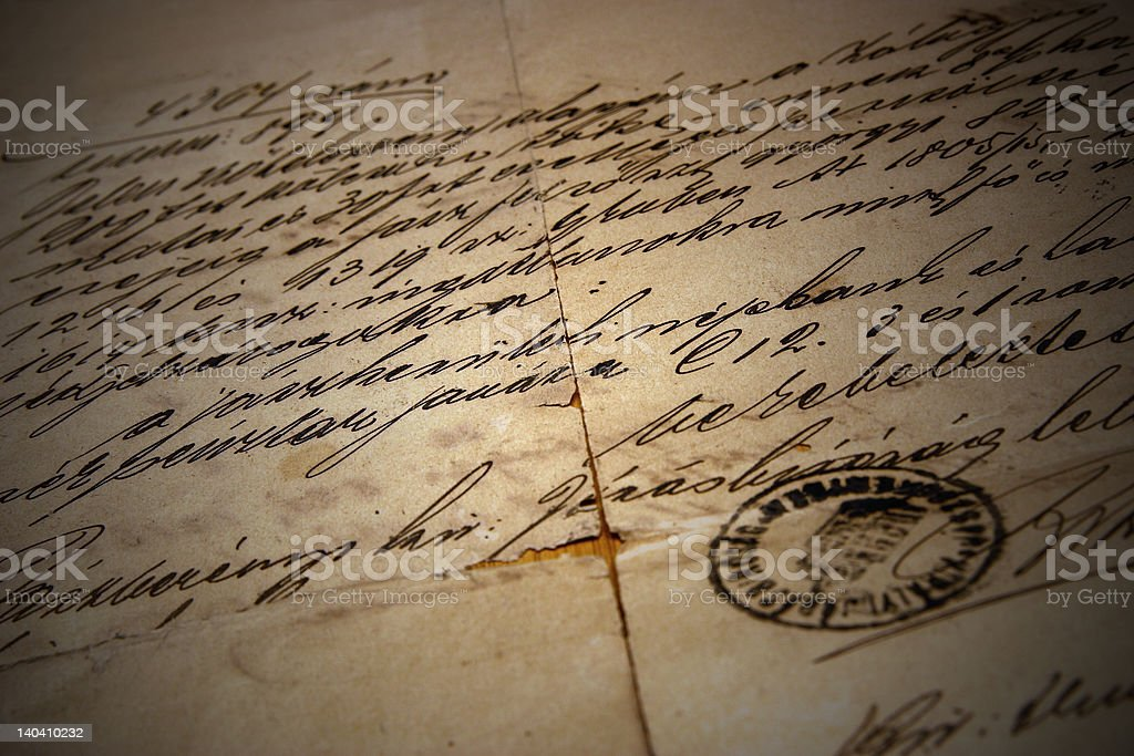 Old handwriting whit stamp royalty-free stock photo