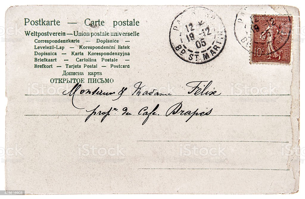 old handwritten postcard letter with stamp and text royalty-free stock photo